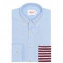 Chemise Casual Bleue à Poche Rayée Bordeaux