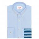 Chemise Casual Bleue à Poche Rayée Bleue