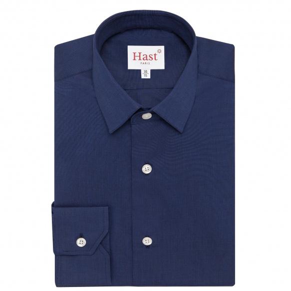 Chemise extra-ajustée bleu nuit à col français