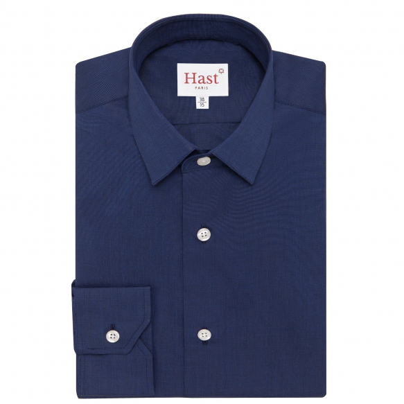 Extra-slim midnight blue shirt with french collar