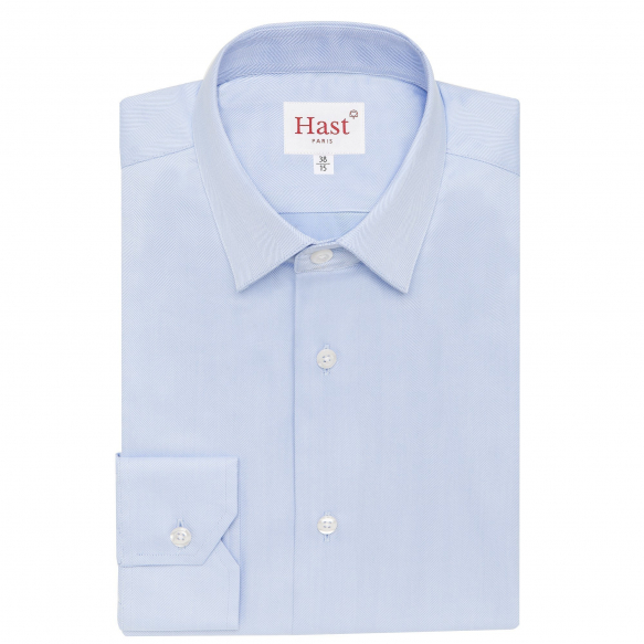 Blue herringbone shirt with french collar