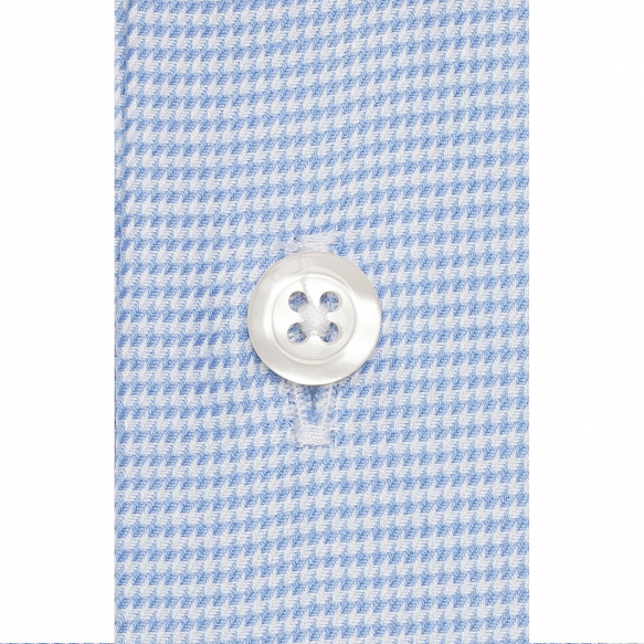 Hound's tooth blue shirt with french collar
