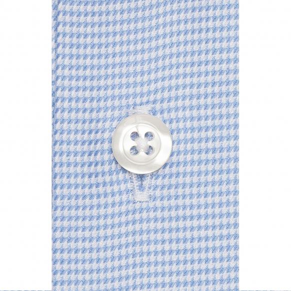 Chemise extra-ajustée pied de poule bleu à col français