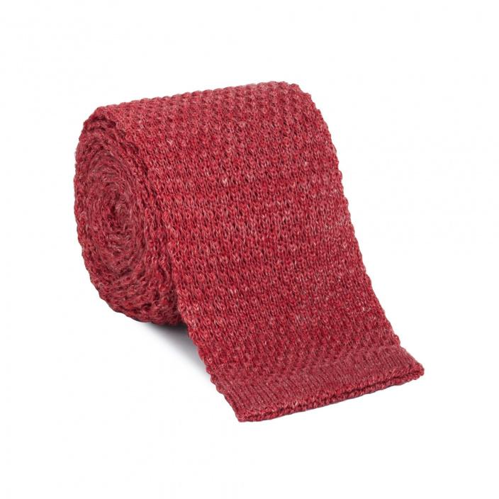 c24c85865ee7a Cravate rouge en maille de lin