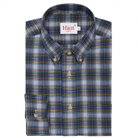 Blue tartan flannel shirt