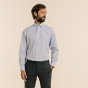 Slim fit faux-plain with thin blue stripes poplin shirt