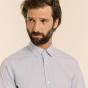 Classic fit thin blue stripes poplin shirt