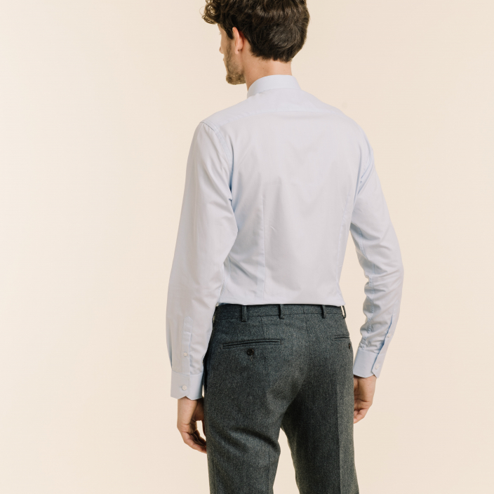 Extra-slim sky blue shirt with french collar