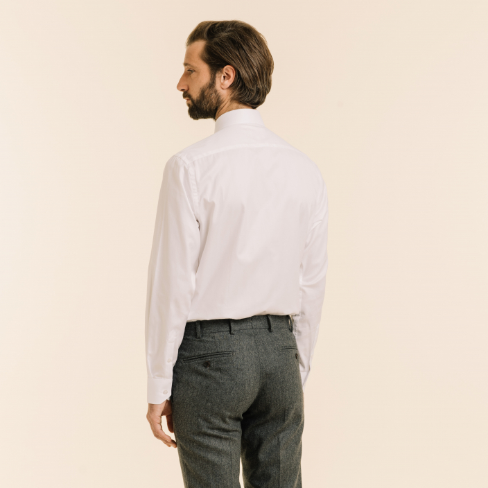 Classic fit white herringbone shirt
