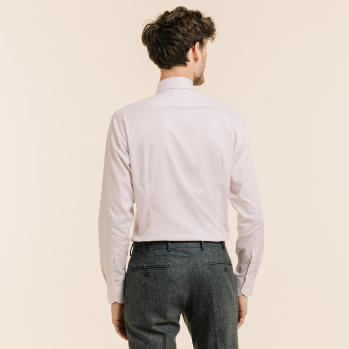 Extra-slim shirt with thin red stripes