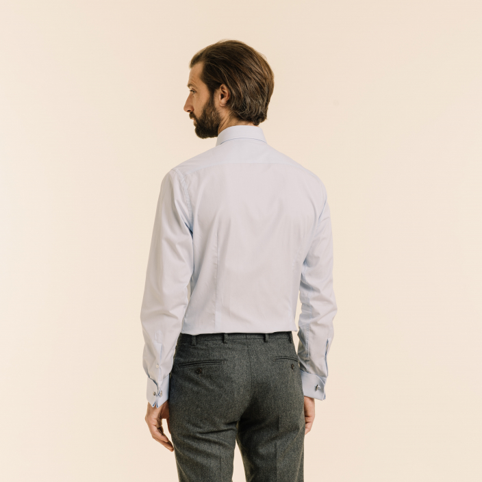Slim fit blue fil-à-fil shirt with French cuffs