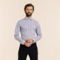 Chemise premium cintrée en twill à rayures bleues
