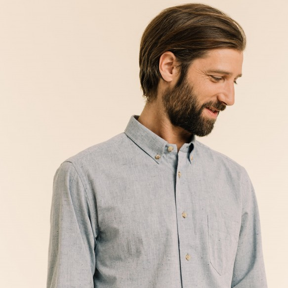 Textured chambray blue shirt