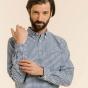 Chemise décontractée en oxford vichy bleu