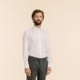 Slim fit white herringbone shirt
