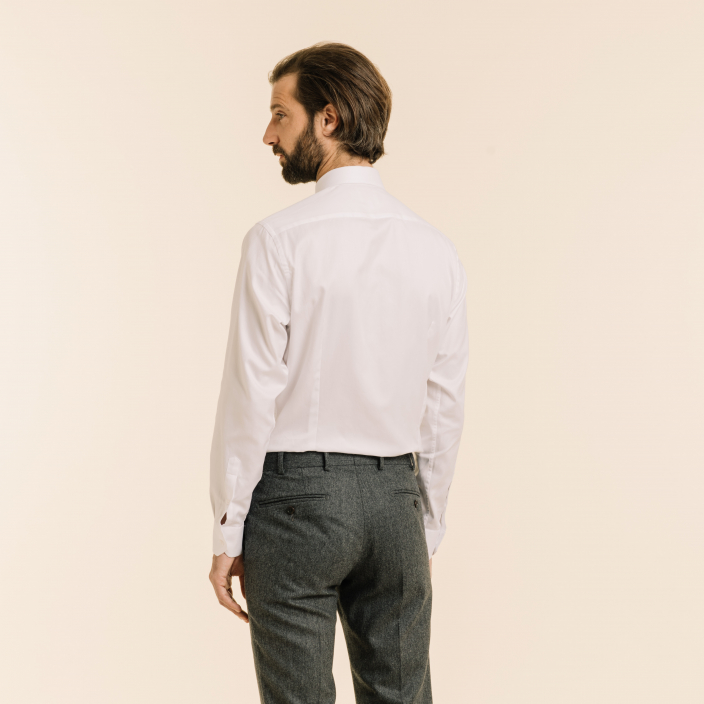 Extra slim white herringbone shirt with french collar