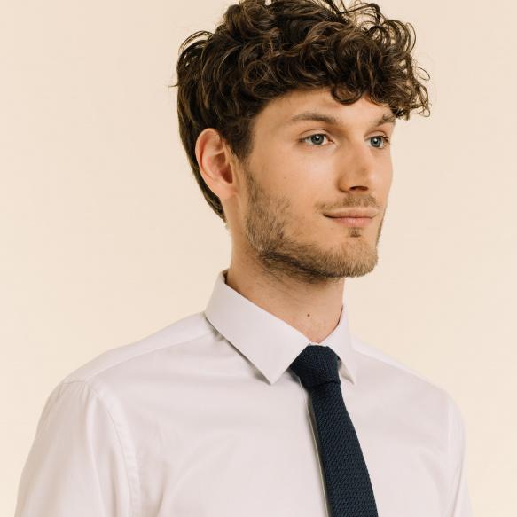 Cravate bleu marine en grenadine de soie et coton
