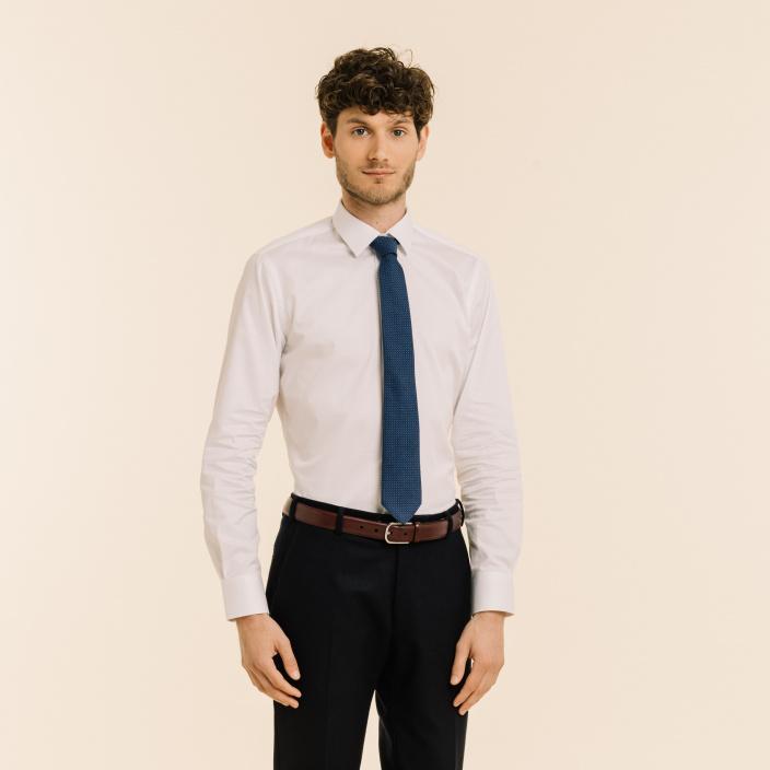 Blue cotton and silk grenadine tie