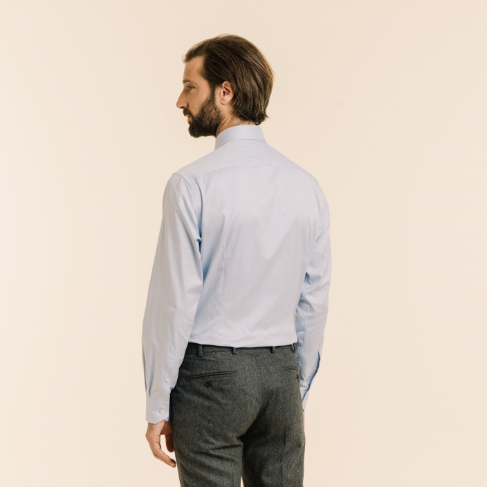 Extra-slim blue herringbone shirt