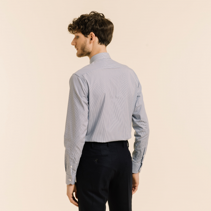 Dark-Blue Small Striped Shirt With French Collar