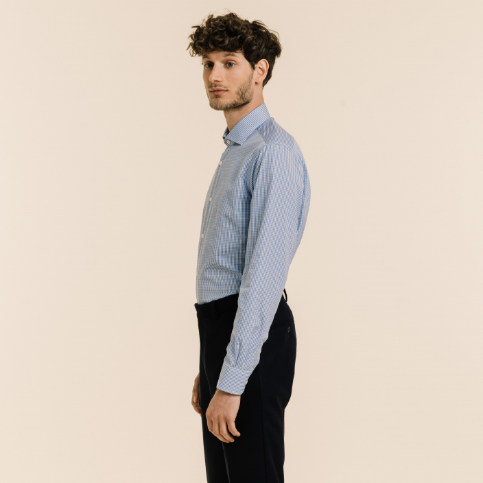 Slim fit blue gingham poplin shirt