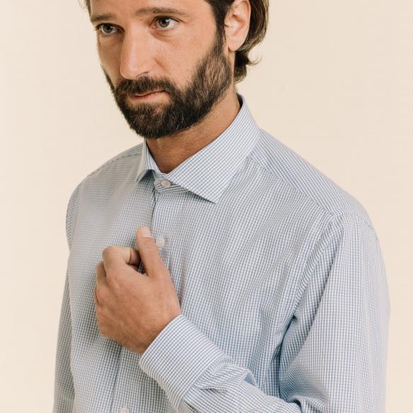 Chemise cintrée en popeline à carreaux bleu foncé