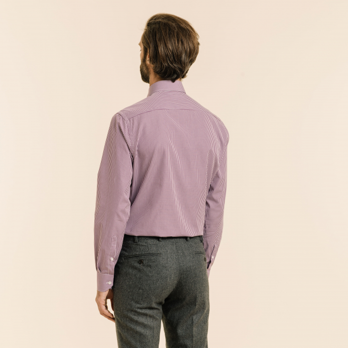 Classic fit purple gingham poplin shirt