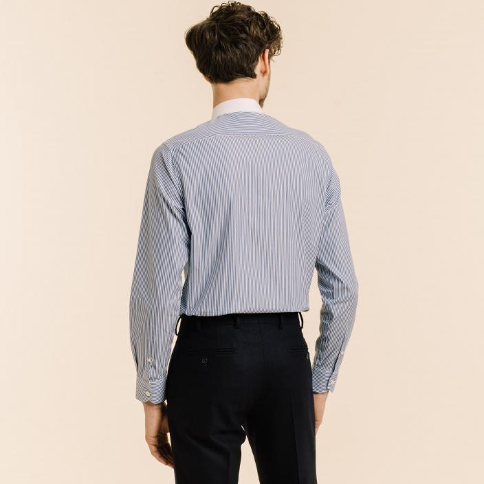 Blue stripe club collar shirt