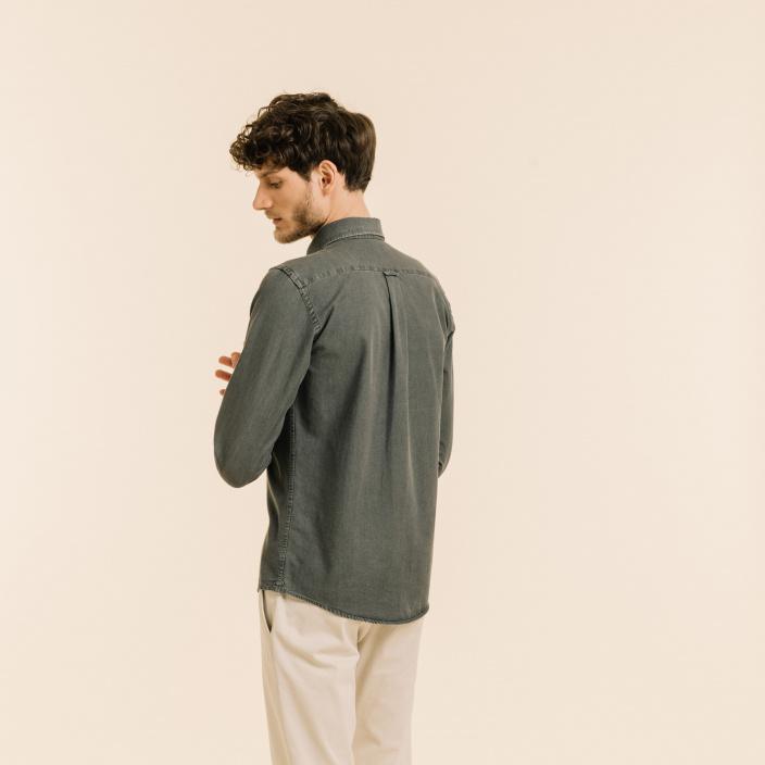 Relaxed fit grey denim shirt