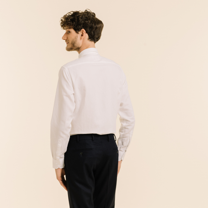 Classic fit linen and cotton white shirt