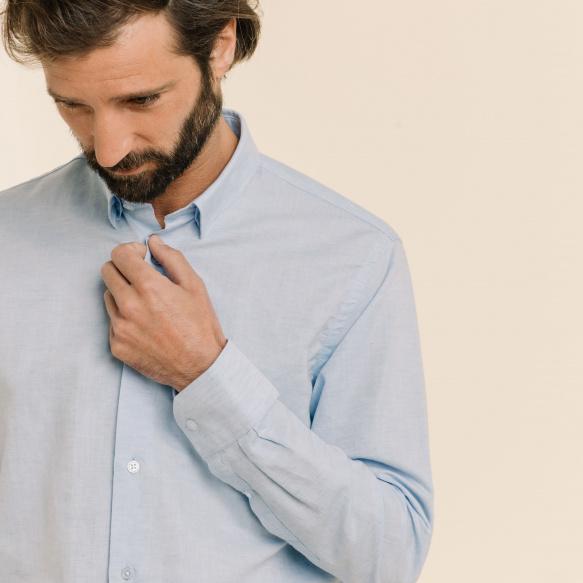 Chemise bleu clair lin et coton