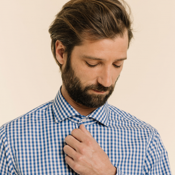 Extra-Slim Blue Check Shirt