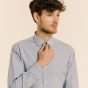 Chemise cintrée en popeline à petites rayures bleu foncé
