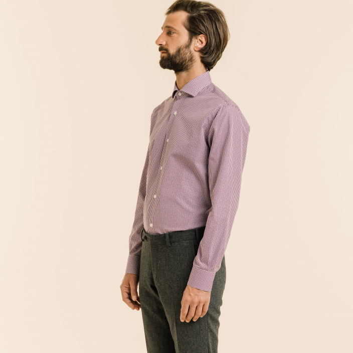 Slim fit purple gingham poplin shirt