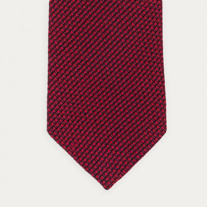 Red cotton and silk grenadine Tie