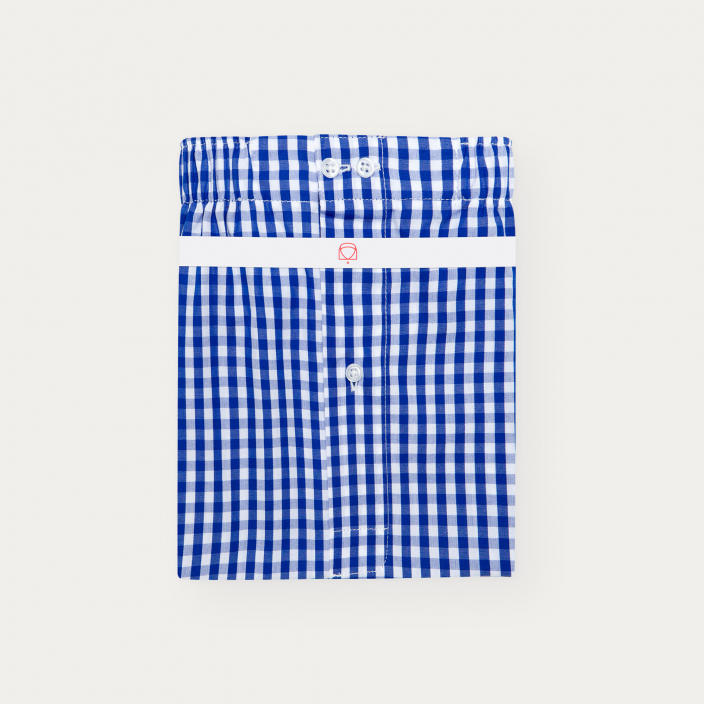 Blue Semi Plain Stripe Boxer