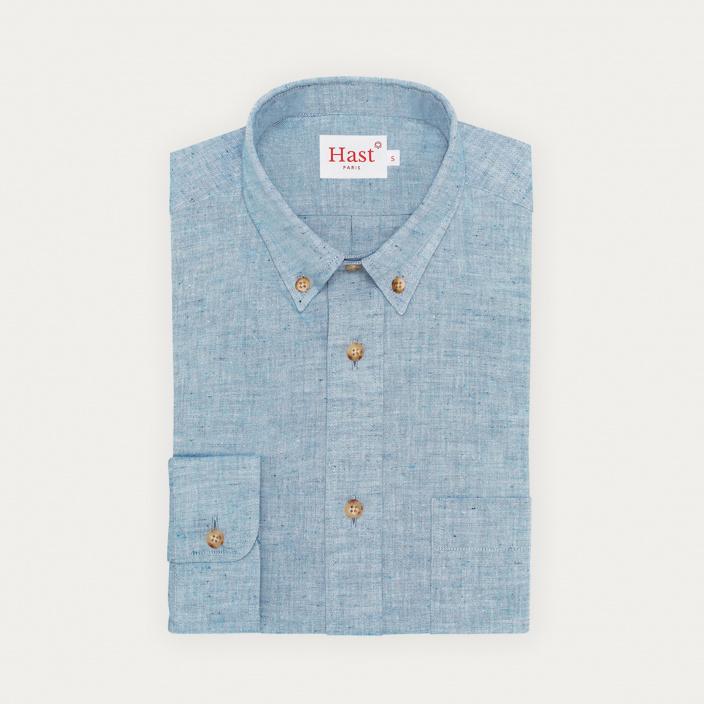 Textured chambray blue shirt