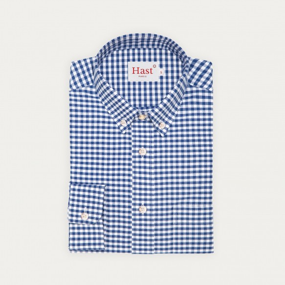 Relaxed fit blue gingham...
