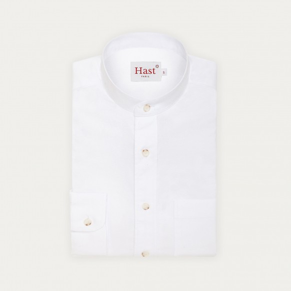 Stand up collar white shirt