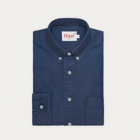 Relaxed fit raw denim shirt