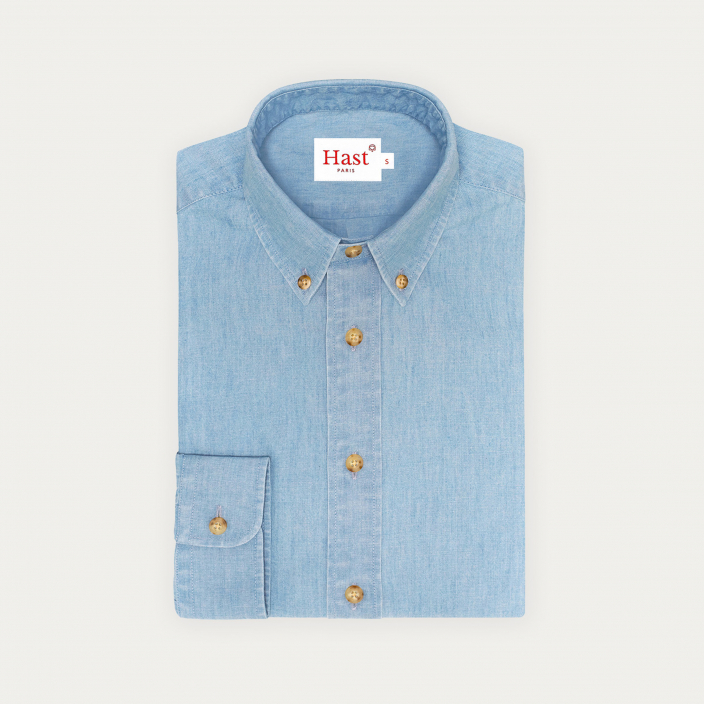 Relaxed fit blue chambray shirt