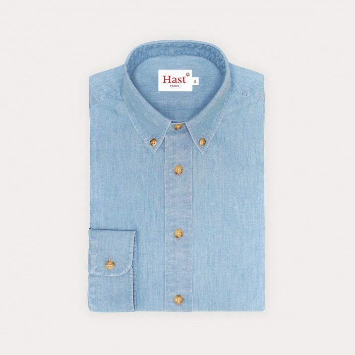 Chemise décontractée en chambray bleue