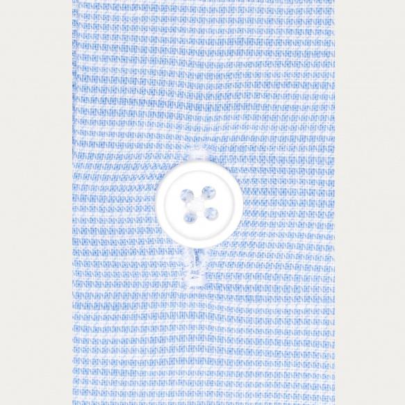 Chemise classique en lin et coton pied de puce bleue