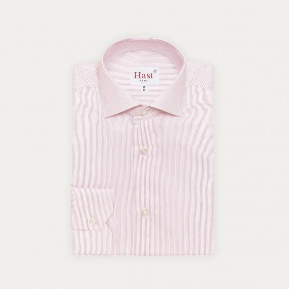 Chemise cintrée en twill à fines rayures rouges