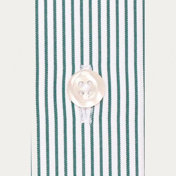 Chemise cintrée en popeline à petites rayures vertes