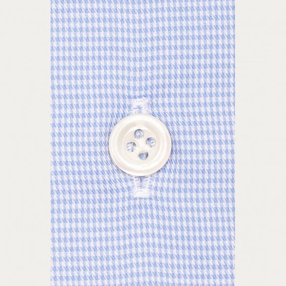 Chemise premium cintrée en oxford pied-de-puce bleu clair