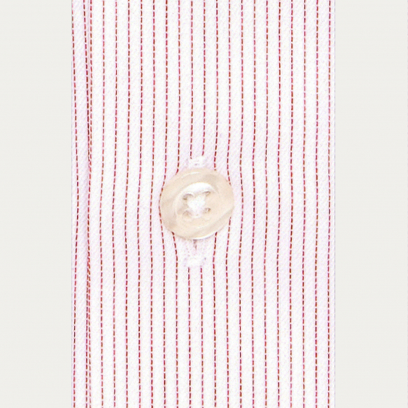 Shirt with thin red stripes