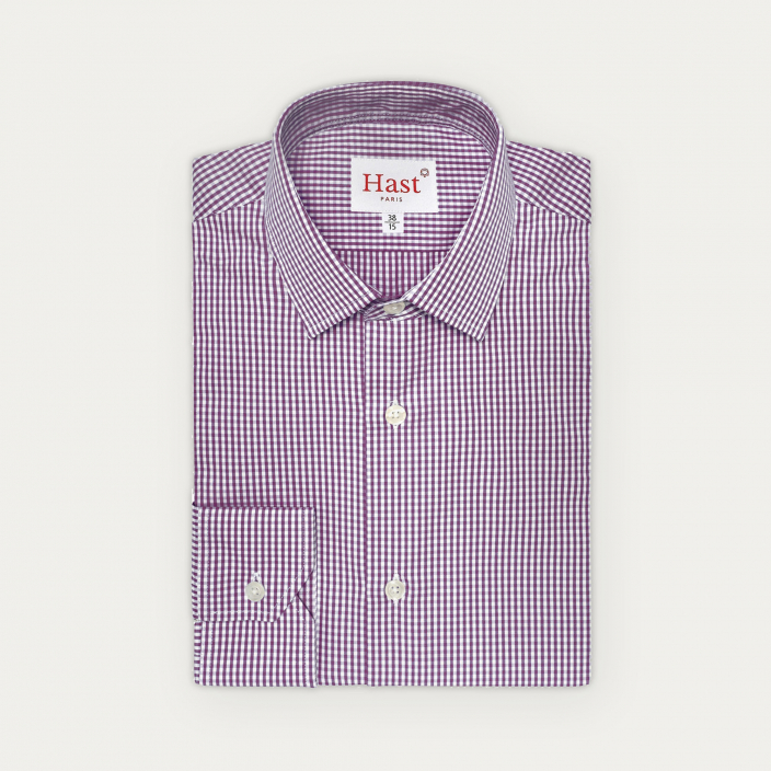 Extra-slim purple gingham shirt with french collar