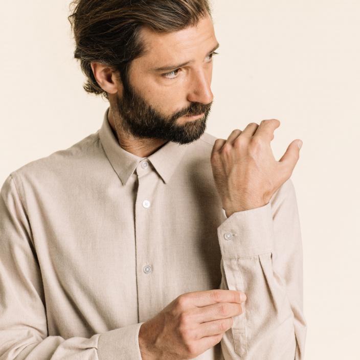 Classic fit beige flannel shirt