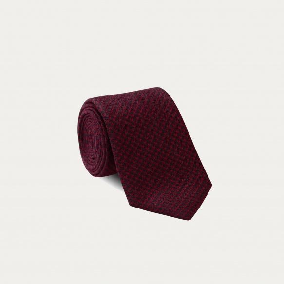 Cravate pied de poule bordeaux